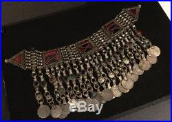 Antique Silver Islamic Turkoman Turkmen Tribal Persian Headdress Necklace Choker