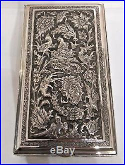 Antique Silver Persian-style Rectangular Box, Parrot & Flora, Early 20th C