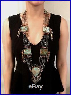 Antique Silver Uzbek Coral Turquoise Necklace