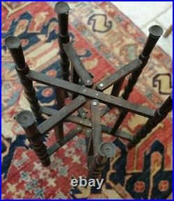 Antique Silver Washed Copper 49cm Diameter Persian Middle Eastern Tray Table