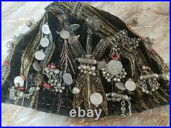 Antique Silver Yemeni Tribal Bedouin skull cap ornament with Silver & coins