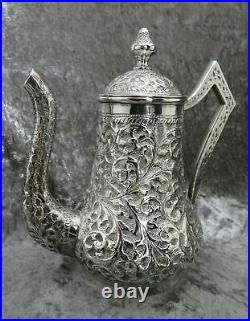 Antique Solid Sterling Silver Coffee Pot Indian or Persian 460g c1900