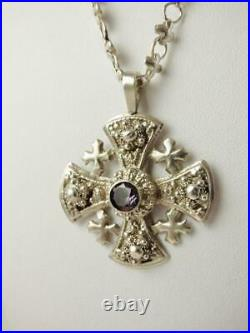 Antique Sterling Silver Holy Land MALTESE CROSS Amethyst Pendant Necklace 19.5