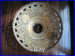 Antique Syrian Middle Eastern Moorish Revival Pierced Brass Lamp SHADE ONLY