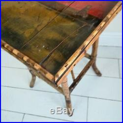 Antique Tiger Bamboo Lacquered Table Side Lamp Occasional Table