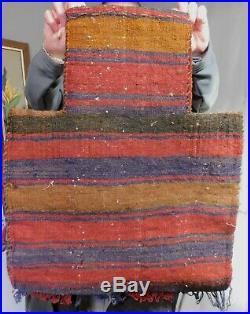Antique Tribal Oriental Rug Salt Bag Nomadic Textile PIle Face Geometric 1930