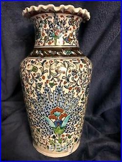 Antique Turkish Ceramic Pottery Hand Painted Polychrome Iznik Style Vase 10