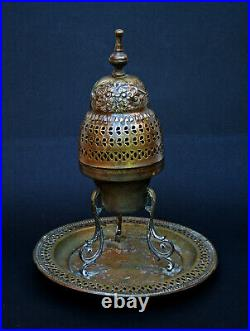 Antique Turkish Incense Burner Silver Plated Brass Ottoman Makers Mark