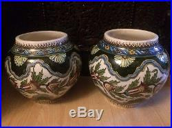 Antique Turkish Iznik Kutahya Pottery Painted Vases Pair