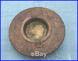 Antique Turkish/Middle Eastern Brazier/Fire Pit Table Wood Bronze/Brass Copper