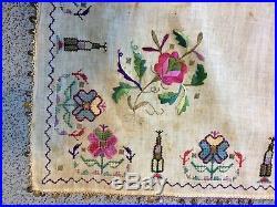 Antique Turkish Ottoman Embroidery Metal Thread &silk Textile