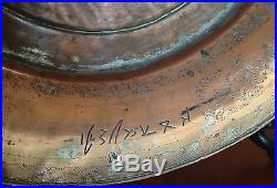 Antique Turkish Ottoman Tin Copper Plate Tray Marked Islamic RARE Middle East