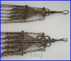 Antique Turkmen Tribal Silver Carnelian Earrings 9 23cm 56853