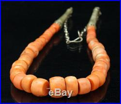 Antique UNTREATED MEDITERRANEAN Natural Coral Necklace / Beads