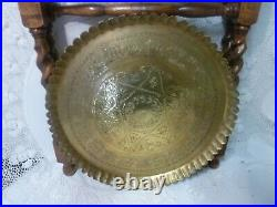 Antique Vintage Brass Tray Islamic Foldable Barley Twist Legs Stand Table Heavy