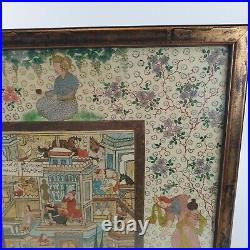 Antique / Vintage Fine Middle Eastern Painting Of a Busy Town Qajar Style