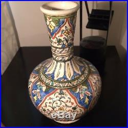 Antique Vintage Iznik Kutahya Pottery Bottle Vase