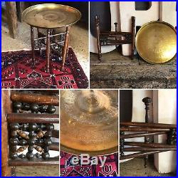 Antique Vintage Oriental Middle Eastern Brass Tray Table Wooden Folding Base