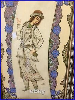 Antique Vintage Persian Painting Khatam Inlay Art Wooden Frame