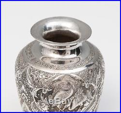 Antique/Vintage Persian Silver Hand Made Vase with Water Birds & Arabic Marks