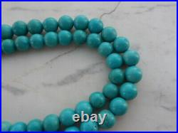 Antique Vintage Persian Turquoise Necklace 7- 8 mm Long Beaded Strand 33 inches