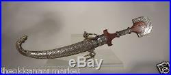 Antique Vintage Silver Mounted Moroccan Persian Turkish Sword Dagger Koummya