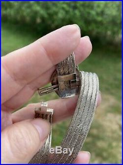 Antique Vintage Sterling Silver 925 Turkish Handmade Mesh Choker Necklace