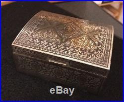 Antique Vtg Islamic Deccan Brass Silver Inlay Wood Azincourt Domed Casket Box