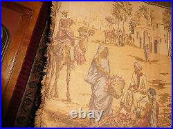 Antique Wall Tapestry Middle Eastern Village Camel Horse Persian Vintage Runner
