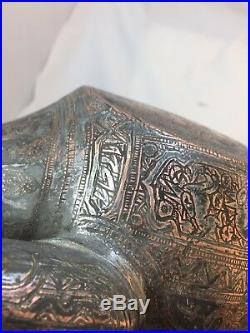 Antique Water Jug Aftabeh Qajar Copper islamic art fine handmade And HandCarved