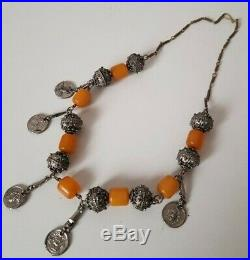 Antique Yemen Bakelite Necklace Silver Ball Filigree Beads Middle East Tribal
