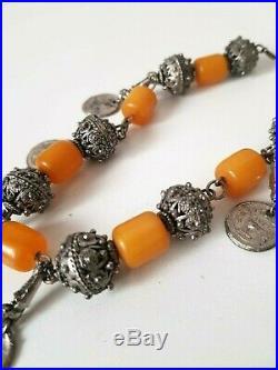 Antique Yemen Bakelite Necklace Silver Ball Filigree Beads Middle East Tribal