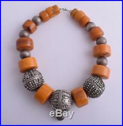 Antique Yemen Silver globe beads/ Bakelite / African Amber Necklace Choker