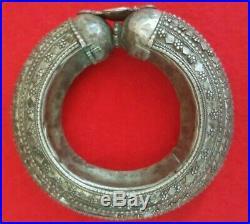 Antique Yemeni Bedouin Hollow Bangle, Yemenite Ethnic Vintage Cuff Gypsy Bracelet