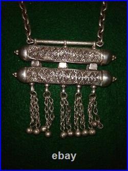 Antique Yemeni Ethnic Silver and Turquoise Bedouin Double Prayer Box Cylinder