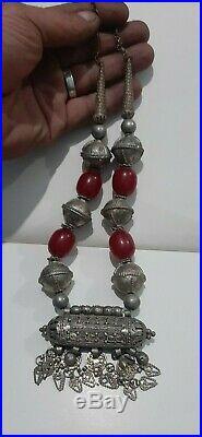 Antique Yemeni silver Bedouin Jewish Handmade necklace 106 g bakelite beads
