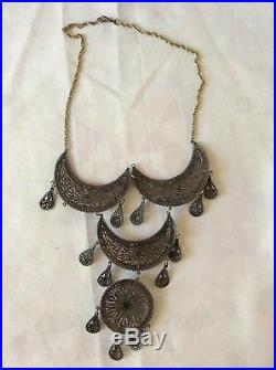 Antique Yemenite Filigree Necklace, 925 Sterling Silver, Judaica, Amazing work