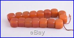 Antique butterscotch Bakelite Yemen Amber cube beads Necklace-139 gram