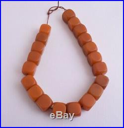 Antique butterscotch Bakelite Yemen Amber cube beads Necklace-171 gram