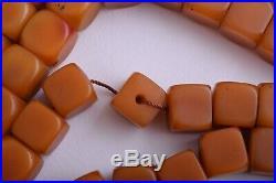 Antique butterscotch Bakelite Yemen Amber cube beads Necklace-329 gram