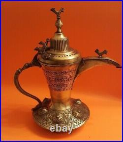 Antique copper Turkish Ottoman Middle eastern Islamic Dallah Arab Coffee Pot