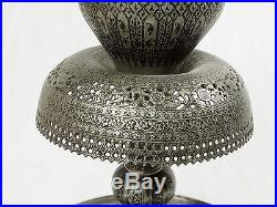 Antique copper tinned islamic engraved oil lamp Afghanaistan candle holder N-125