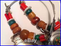 Antique judaica silver Moroccan Berber braid earrings set with Amber (m850)