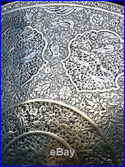 Antique large persian islamic qajar safavid pahlavi middle eastern brass tray
