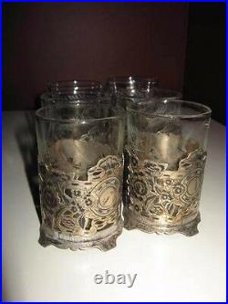 Antique old vintage persian silver tea set of 6 floral design cup with glass