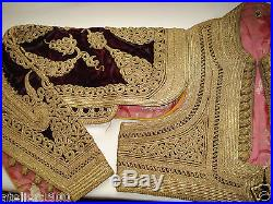 Antique ottoman gold embroidered velved jacket with long sleeves