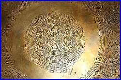 Arabic Persian Cairoware Embossed 20 Large Middle Eastern Islam Brass Tray