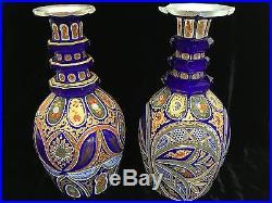 Assembled pair Bohemian overlay glass decanters 19thC Persian Turkish market