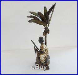 Austrian Cold Painted Oriental Desert Soldier Palm Tree Rock Franz Bergman