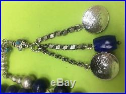 BEAUTIFUL OLD REAL natural lapis lazuli Islamic Prayer Beads 33 Silver Tassel